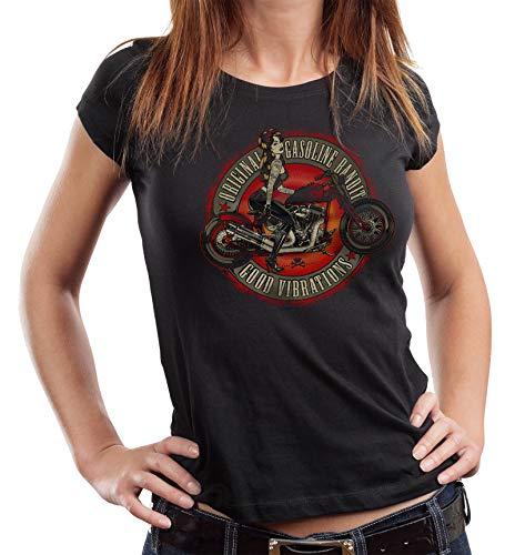 Gasoline Bandit Camiseta para mujer con texto 'Good Vibrations' Negro M