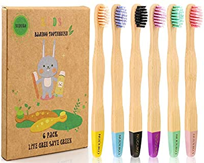 Kids Bamboo Toothbrushes Biodegradable Handle BPA Free Soft Spiral Bristles Eco-Friendly Children Size, Pack of 6