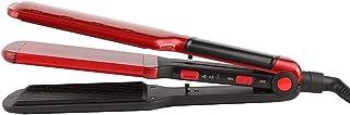 ストレート型ストレートヘアアイロンストレート型コーンコブツーインワンカーラー,10段階の温度調整 (Color : レッド)