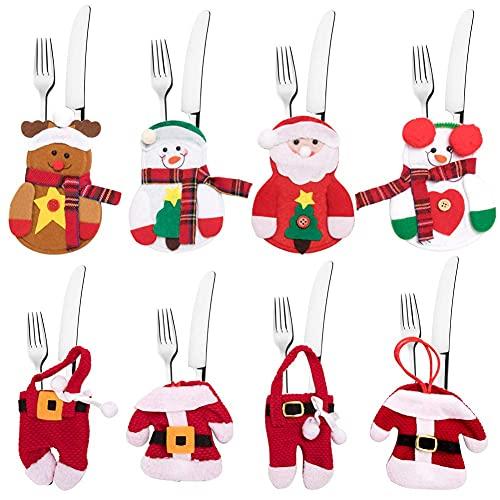 Portaposate di Natale, Set di posate di Babbo Natale, 8 Set di pupazzi di neve per abbigliamento Borsa per posate, Borsa per posate di Natale Borsa per tovaglioli Decorazione natalizia (8 pezzi)