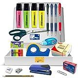 Pack Material Oficina - PS BASICS OFFICE (PLUS) - Kit de material Oficina: Subrayadores, Bolígrafos, Corrector Tipp-ex, Cinta Adhesiva, Tijeras, Grapadora. Productos de Papeleria al Mejor Precio