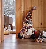 amelex 67Stop-Porte de muñeco de Nieve, diseño de Mignonne de Varios Textiles en los Tonos Tradicionales, Gorro de Navidad Façonnable, Relleno Pesado, 100% poliéster