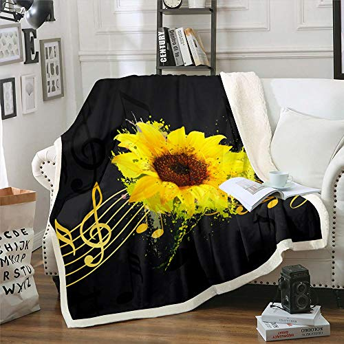 Erosebridal Sunflower Plush Bed Blanket Yellow Flower Floral Fleece Blanket, Music Notes Blanket Throw for Kids Adult, Watercolor Style Sofa Couch Fade Resistant Blanket Throw 50'x60'