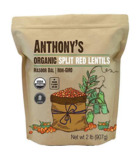 Anthony's Organic Split Red Lentils, 2 lb, Masoor Dal, Gluten Free, Non GMO, Vegan