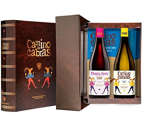 CAMINO DE CABRAS Estuche de vino – Ribeiro D.O. Ribeiro Vino blanco + Mencía D.O. Ribeira Sacra Vino tinto – Producto Gourmet - Vino para regalar - 2 botellas x 750 ml.