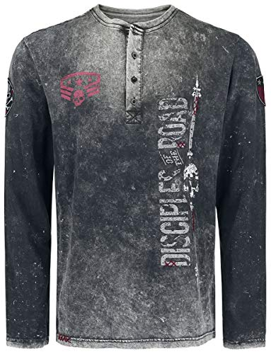 Rock Rebel by EMP Through The Glass Hombre Camiseta Manga Larga Gris Oscuro 5XL