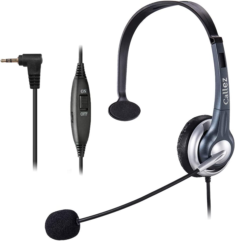Callez 2.5mm Cordless Phone Headset Mono, Hands-Free Telephone Headset With Noise Canceling Mic For DECT AT&T ML17929 Vtech Panasonic KX-T7630 KX-T7633 Uniden RCA Cisco Call Center Home Office(C300D1)