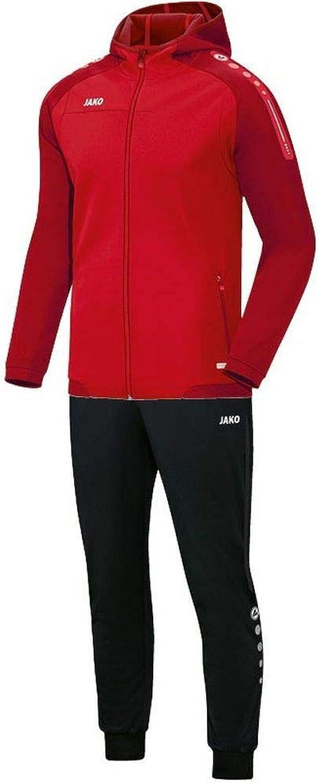 JAKO Fuball Trainingsanzug Polyester Champ mit Kapuze Herren Jacke Hose rot dunkelrot