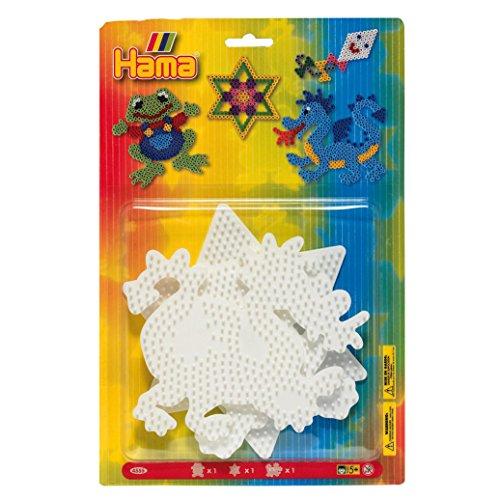 Hama Perlen 4555 Große Stiftplatten 3er Set für Midi Bügelperlen mit Durchmesser 5 mm, Motive Frosch, Stern und Drache in weiß, kreativer Bastelspaß für Groß und Klein