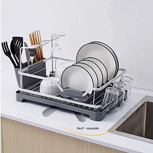 Praktischer Abtropfständer, Ablage, Aluminium mit Abtropfschale, Abtropfgestell für Küchenarbeitsplatte mit herausnehmbarem Besteckkasten und Abtropfbrett mit verstellbarem, drehbarem Ablagefach