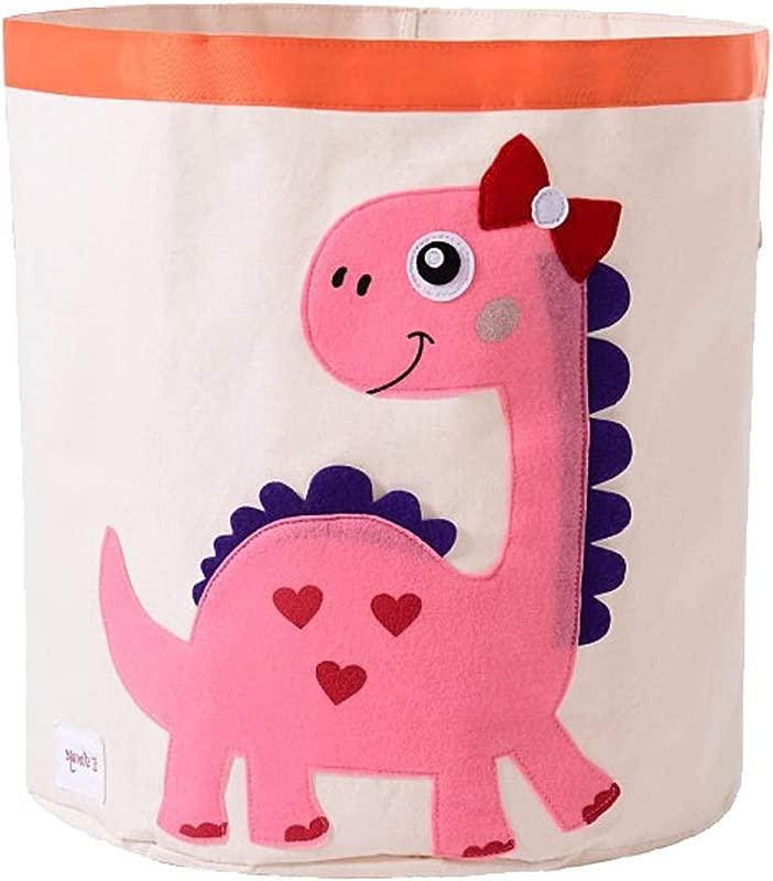 Exttlliy Cartoon Animal Storage Bins Folding Cylindrical Waterproof Cloth Kids Toy Storage Basket Laundry Basket Toy Organizer Snacks Storage Basket Pink Dinosaur