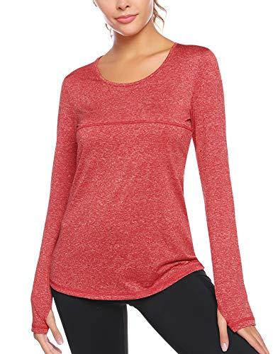 Sykooria T-Shirt de Sport Femme à Manches Longues sans Couture Top de Fitness Souple Respirant Chemise Femme de Running Yoga Randonné-vin Rouge-M