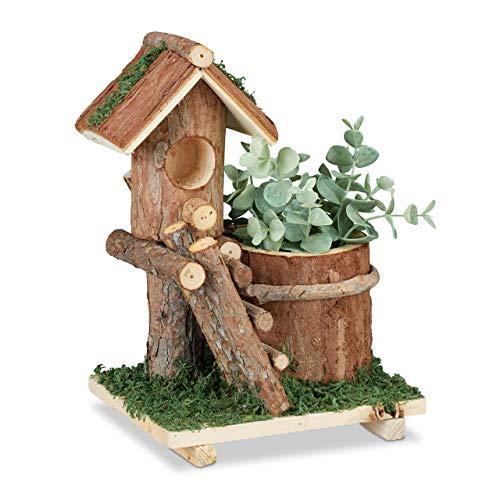 Relaxdays Holz Blumentopf, mit Deko Vogelhaus & Moos, Baumstamm Übertopf, rustikale Dekoration, innen & außen, braun, 1 Stück