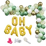 UTOPP Sage Green Balloon Garland Arch,Oh Baby Balloon Banner Baby Shower Decoration Backdrop with Olive Green,White,Metallic Chrome Gold Balloons for Boho Neutral Bridal Shower,Gender Reveal,Birthday Party Supplies