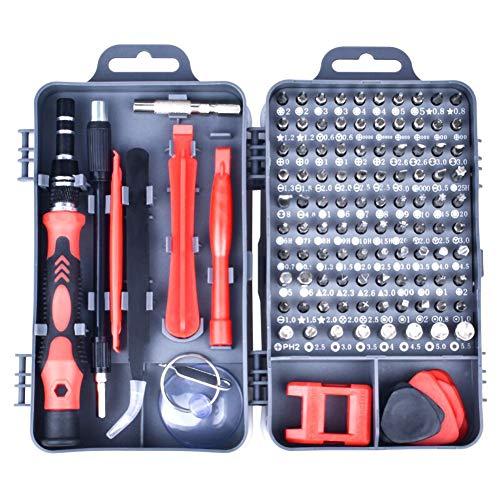 KSWX Schraubenzieher Set 115 in 1 Schraubendreher-Kit Chrom-Vanadium-Stahl-Magnetschraubendreher-Kit für Mobiltelefon Smartphone-Spielekonsole Tablet PC,Gray