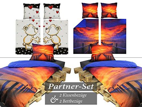 npluseins Wendebettwäsche im Partnerlook - als 4-teiliges Set 769.979, Steg im Sonnenuntergang