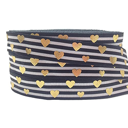 10Yards Gold Foil Heart Print Fold Over Elastic 5/8inch-Printed Elastic Ribbon-Elastic Bands for Sewing-FOE Elastic for Sewing Crafts DIY-FOE Ribbons for Craft-FOE Ribbon Decoration Accessories
