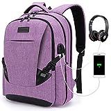 Tzowla Travel Laptop Backpack Waterproof Business Work School College Bag Daypack with USB Charging&Headphone Port for Men Women Boy Girl Student Durable Luggage Backpacks Fit 15.6/17Inch(Purple)