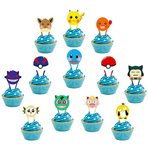 24 Pcs Cupcake Toppers for Pokemons Pikachu Themed Kids Adults Birthday Party Supplies Cake Decorations