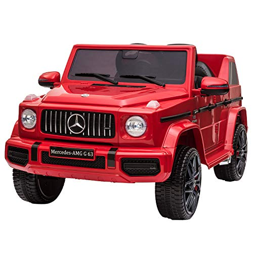 TOBBI 12V Licensed Mercedes-Benz AMG G63 Kids Ride On Cars Toys with Remote Control,Spring Suspension System,Openable Doors,Music,LED Lights(Red)