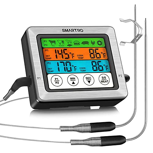 SMARTRO ST54 Dual Probe Digital Meat Thermometer for Cooking Food Kitchen Oven BBQ Grill with Timer Mode and Commercial-Grade Probes