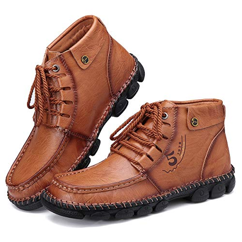 Camfosy, Botas Chukka de PU Cuero para Hombre, Botines cálidos de Invierno, Zapatos de conducción con Forro de Piel sintética con Costuras a Mano Marrón EU 42