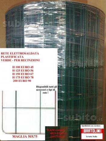 ITALFROM Rotolo 25mt Recinzione Rete Metallica Zincata Plastificata Maglia:mm75X50 Diametro Filo:mm2,2 Altezza Rete: 100 cm cod.2204