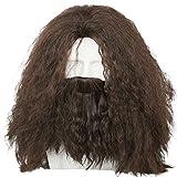Homme Cosplay Perruque Brown Longue Frisée Cheveux Accessories Avec Beard Halloween Robe de Fantaisie Pour Adulte