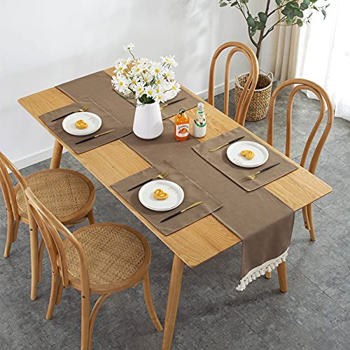 DSman Transpirable, Aislamiento Térmico, Restaurante,Cocina, Cafetería, Mantel de Jardín Camino de Mesa con borlas de Encaje
