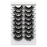 ALICROWN 25MM Lashes Pack Full Volume Dramatic False Eyelashes Long Thick Fluffy Faux Mink Lashes 8 Pairs Soft Handmade Reusable Lashes