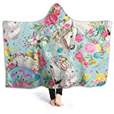 FENTINAYA Manta de cama de caballo y flores, 3D colorido impreso air-acondicionado, para adultos super suave franela vivero mantas para oficina 50 x 101 cm
