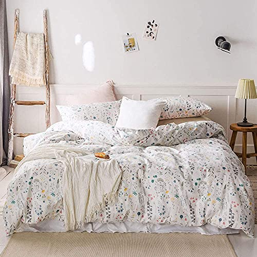 VM VOUGEMARKET Colorful Duvet Cover Set Full Queen,100% Cotton Floral Plant Bright Fresh Designed White Bedding Set,Ultra Soft and Easy Care,Breathable for Girls Women-Full/Queen,Floral