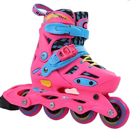 Yhjmdp Inlineskates Rollschuhe, Outdoor- Und Indoor-Rollschuhen Für Jungen, Mädchen, Anfänger Pink-XS (Size 29-32)