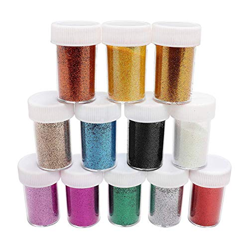 Bkrdty Glitter Polvere 12 Pezzi Glitter per Pittura Multicolori Glitter per Slime Hobbistica Trucco Nail Art