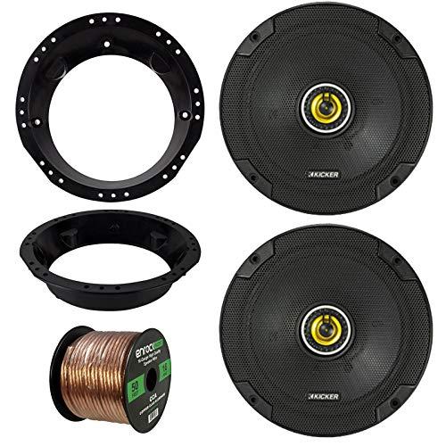 """98-13 Harley Speaker Bundle: 2 Kicker CSC674 6-3/4"""" 600 Watt CS-Series Black Car Coaxial Speakers Combo with Speaker Mounting Rings for Motorcycles, Enrock 50 ft 16 Gauge Speaker Wire"""