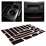 CupHolderHero for Chevy Silverado 1500 and GMC Sierra Accessories 2014-2018 Interior Cup Holder Inserts, Center Console Liner Mats, Door Pocket 26-pc Set (Double Cab with Bucket Seats) (Red Trim)