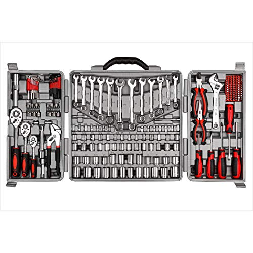 Cartman Tool Set 205Pcs Red Ratchet Wrench with Sockets Kit Set in Plastic Toolbox
