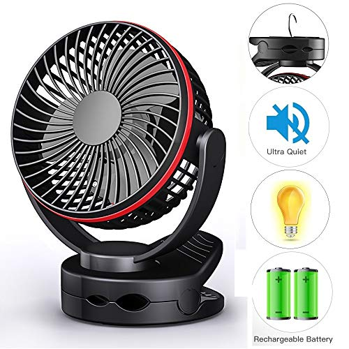Clip on Fan, USB Desk Table Fan Battery Operated, Ultra Quiet 4-Speed Portable Baby Stroller Fan w/Warm Night Light, 3600mAh Rechargeable Hanging Fan for Outdoor Camping Home Office Buggy