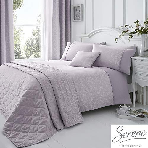 Serene Ebony Floral Jacquard Duvet Cover Set, Mauve, Double