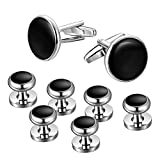 Jstyle Mens Cufflinks and Studs Set Tuxedo Shirts Classic Black&Silver Match for Business Wedding Formal Suit