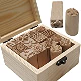 TINTON LIFE 16PCS Wooden Clay Pottery Stamp Pottery Tool Wood Block Stamp