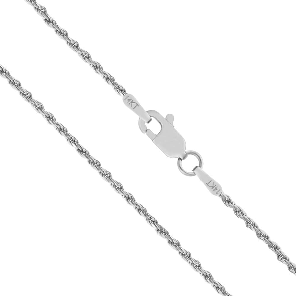 Honolulu Jewelry Company 14K Solid White Gold 1mm Rope Chain Necklace