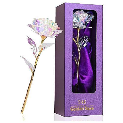 Oro 24 K Rose regalo per la festa della mamma, San Valentino, fidanzata o mamma, nonna, rosa eterna, fatto a mano, con confezione regalo