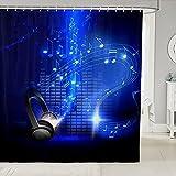 Kopfhörer Musik Badezimmer Duschvorhang 3D Stereo Musik Duschvorhang Liner Königsblau Duschvorhang Wasserdicht Waschbar Duschvorhang mit Haken 182,9 cm B x 182,9 cm L
