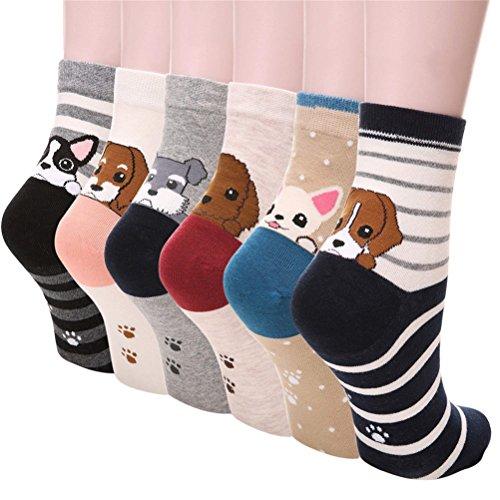 5-6 Pares Calcetines de Algodón para Mujeres Colores Mezclados Animales de Dibujos Gato Patrón Calcetines Calcetines Calientes de Divertidos Ocasionales Invierno Grueso de la EU 35-38 (6 pares-6111)