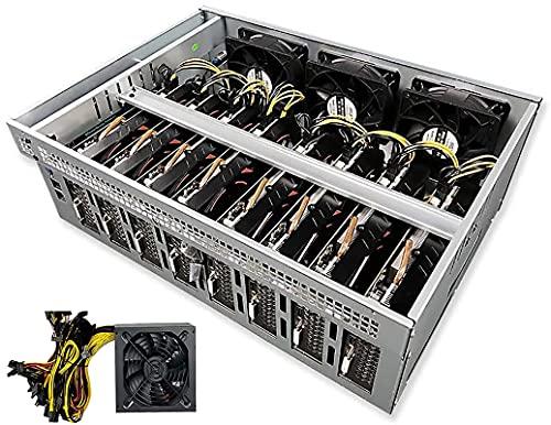 Plataforma de minería Miner de Bitcoin, Caja de la Plataforma minera, Incluyendo la Placa Base de tragamonedas de 55 mm, SSD, RAM, Comida minera, Ventiladores de refrigeración (GPU sin GPU)