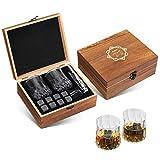 Baban Whisky Stein Set, Wiederverwendbare Eiswürfel, 8 Eissteine und 2 * 200ml Whiskygläser, Edelstahlclips und Tasche aus Fleece, Geschenk Box aus Holz, bestes Geschenk für Männer und Frauen