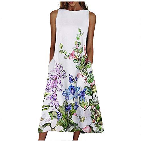 Yowablo Kleid Frauen Mode lose ärmellose Tasche langes Kleid O-Neck Print Retro-Kleid (S,2Weiß)