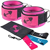 PeoBeo Ankle Straps for Cable Machines with Latex Loop Resistance Bands for Legs and Butt | Ankle...