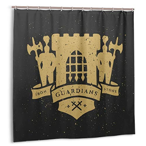 FQWEDY Duschvorhang, Die Festung, Ritter & Band für Text. Heraldische Embleme im mittelalterlichen Stil Badvorhang Set mit Haken